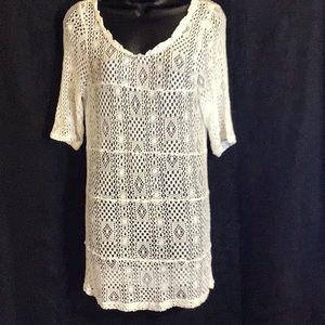 Free People Intimately White Crochet Mini Dress L